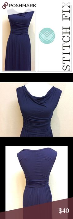 """S STITCH FIX GILLI blue Kadence cowl neck dress Brand: gilli stitch fix Style: Kadence cowl drape front dress Measurements: pit to pit 16"""", shoulder to hem 39.5"""", waist 12"""" flat Size: small Material: 95% viscose, 5% spandex Features: ruching at waist and top of shoulders, flattering fit, very stretchy material  Condition: NWT stitch fix Dresses"""