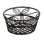 9-in Bread Basket w/ Leaf Design, Wrought Iron/Black