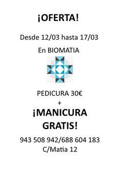 Esta #semana en #biomatia te ofrememos un #chollo! #PEDICURA 30€ + #manicura #gratis! Tu te #relajas y nosotros cuidamos tus #pies y #manos!