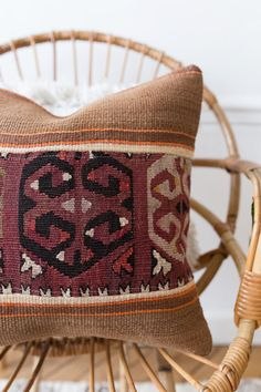 Vintage Turkish Kilim Pillow Cover Pastel Kilim by LoomAndField