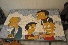 Mosaic Cartoon Creations - DIY Simpsons Episode Creatively Handcrafted on a Coffee Table (GALLERY)