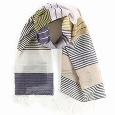 Pine Cone Hill | Chesapeake Scarf | We've given preppy stripes a tempting twist with our cotton scarf in shades of ink, lime, and toast.