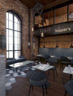 Inspiration ของการใช้อิฐ Hoppers bar by John Komnos, via Behance: