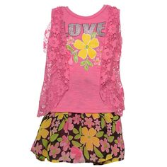 """Floral accents and girly laces add grace to this Real Love outfit. The two piece set includes a sleeveless top with """"Love"""" glitter writing and fuchsia lace detail on the side. Complete with dark shade colored floral skirt for an outfit she will love."""
