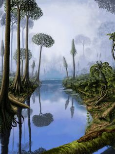 Carboniferous by Yuriy Priymak, a wonderful landscape drawing showing prehistoric plants and trees.