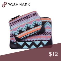 SUPER CUTE Aztec Bags Set BRAND NEW BRAND NEW w/ TAGS!!   The Seeing Double features 2 Cosmetic Bags: 1 small + 1 large. These are the perfect-sized bags!!  Dimensions:  Small: 11cm x 14 cm  Large: 14cm x 19cm Bags