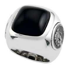 1884 Collection: Sterling Silver Ring w/ 2 Small Coins and Black Jade