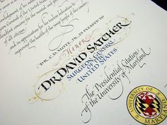 Hand-crafted documents that honor and recognize important people and events