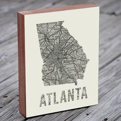Atlanta - Atlanta Art - Atlanta Map - Atlanta Map Art- Wood Block Wall Art Print by LuciusArt on Etsy https://www.etsy.com/listing/222789898/atlanta-atlanta-art-atlanta-map-atlanta
