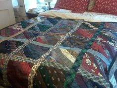 Necktie Quilt ~ Remember all those neckties dad got as a kid ... well here is 1 way put them to use.
