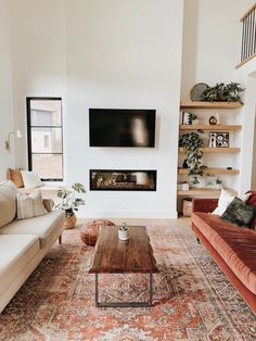 Cozy Living Rooms, Home And Living, Living Room Furniture, Living Room Decor, Living Room No Tv, Interior Design Living Room Warm, Living Room Orange, Living Place, Living Room Warm Colors