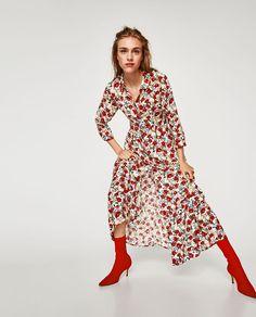 Vestido largo flores rojas zara