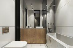 lavabo de madera en el baño pequeño