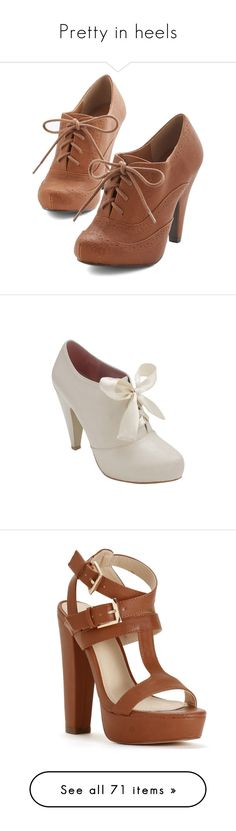 """Pretty in heels"" by jennifer-allison-bulnes-apolo ❤ liked on Polyvore featuring shoes, heels, boots, zapatos, oxford heel, tan, menswear inspired shoes, vegan footwear, tan shoes and vegan oxford shoes"