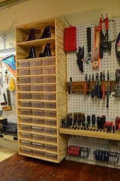 Perfect for crafts or sewing...just add paint. Could work anywhere one needs to collect small quantities into shoebox sized organizers.  Bravo's Woodshop Renovation Project Pt-2
