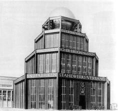 The Deutscher Werkbund: Bruno Taut, Steel industry Pavilion, Leipzig, 1913 Industrial Architecture, Architecture Design, Glass Pavilion, World's Fair, Screen Shot, St Louis, Multi Story Building, Mid Century, Urban