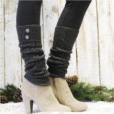 0e159333010ff Go comfortable with Leg warmer for winters WINTER crochet leg warmers -  dark grey | leg