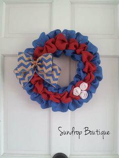 Patriotic Wreath, Burlap Wreath, Wreath, Summer Wreath, Fourth of July Wreath, Summer Decor, Red white and Blue Wreath, Front Door Wreath on Etsy, $33.00