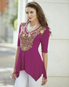Priya Embroidered Tunic from Midnight Velvet®. Colors that pop make this ornately embroidered tunic a sure bet to draw every eye.