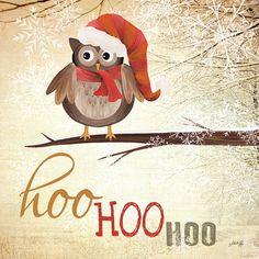 """""""Hoo, Hoo, Hoo"""", Hoo Hoo Hoo Christmas canvas by Marla Rae"""