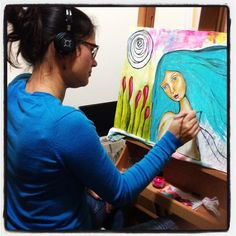 Working on her tonight. #mixedmedia #paintingonwood #paintingbig #whimsical #portrait #arteveryday #irisimpressionsart