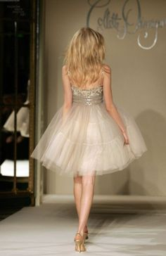Champagne colored dress with tulle skirt.