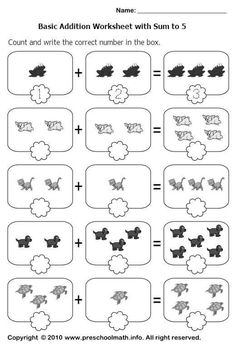 Addition math worksheets for kindergarten kids: free printable math worksheets on addition with pictures with sum up to Printable Math Worksheets, Addition Worksheets, Kindergarten Math Worksheets, School Worksheets, Preschool Math, Kindergarten Addition, Shapes Worksheets, Writing Center Preschool, Activity Books For Toddlers