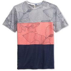 Univibe Men's Garcia Pieced Colorblocked Floral-Print T-Shirt ($15) ❤ liked on Polyvore featuring men's fashion, men's clothing, men's shirts, men's t-shirts, grey heather, mens color block shirt, mens floral t shirt, mens floral print shirts, mens t shirts and mens floral shirts