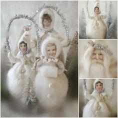 Lieve mensen,     Ben al een beetje bezig met Kerstfeest..   En maakte van wol deze mooie winterpopjes..   Het gezichtje is van papier...