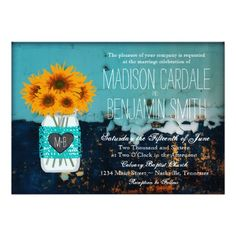 Teal Mason Jar Sunflowers Rustic Country Wedding Invitations with a heart and the bride and groom's initials on the front of the canning jar.  Distressed aqua teal turquoise background.  Great for a country wedding. #wedding #sunflowers #weddinginvitations