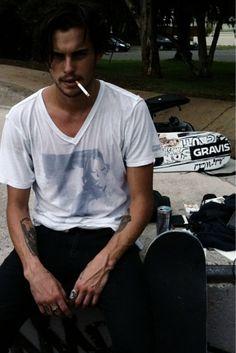 Men tumblr Style streetstyle black jeans white t shirt fashion hair beard Style