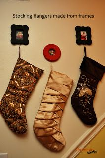 Alternative stocking hangers when you don't have a fireplace. Frames with photos.