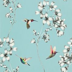 wallpaper design of etched trailing flowers with vivid coloured amazilia hummingbirds. Flower Wallpaper, Pattern Wallpaper, Iphone Wallpaper, Beautiful Wallpaper, Diamond Wallpaper, Wallpaper Backgrounds, Trailing Flowers, Harlequin Wallpaper, Black Wallpaper