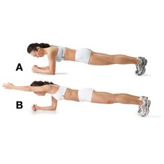 Get into the plank position (toes and forearms on the floor, body lifted). Your body should form a straight line (A). Brace your abs and carefully shift your weight to your right forearm. Extend your left arm in front of you (B) and hold for 3 to 10 seconds. Slowly bring your arm back in. Repeat with the right arm. That's 1 rep. Do 2 or 3 sets of 5 to 10 reps, resting for 1 minute between sets.