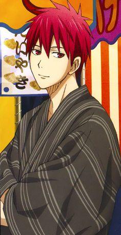 MiraGen plus Kuroko in their yukatas. Ryota Kise, Akashi Seijuro, Cute Anime Guys, Anime Love, Kuroko No Basket Characters, Akakuro, Generation Of Miracles, Kuroko's Basketball, Art Forms