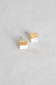 Square Stone Earrings (14K Gold)