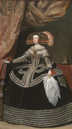 VELÁZQUEZ, Mariana de Austria, 1652-53, Museo del Prado. (1634-1696) casada con Felipe IV, madre de Carlos II.