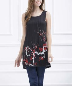 Love this Simply Couture Black & Red Floral Printed Tunic by Simply Couture on #zulily! #zulilyfinds