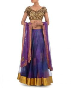 Exclusively.In-Royal Blue & Purple Lehenga Set