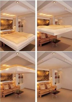 A bed that lifts into the ceiling. Get in my house, now.