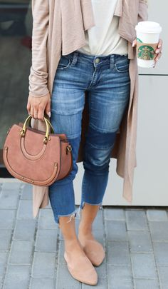 Fall Transitional Outfit: Duster and Mules – L E N A X S T Y L E