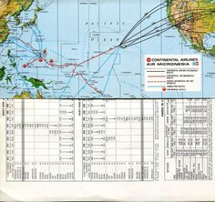 Continental Airlines-Air Micronesia 1976 Route Map