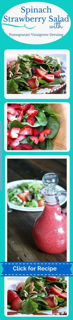 This a salad recipe that makes you get excited about salads! Great flavor from the strawberries and fresh spinach but the Pomegranate Vinaigrette is to die for! This is a happy salad recipe for sure :)