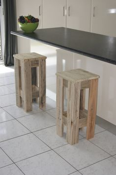 Recycled hard wood stools