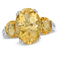 Zales: Oval Citrine Three Stone Ring in Sterling Silver