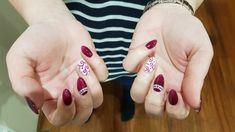 - by Vendy. #burgundy #white #gelnails #ornament
