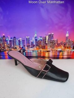 Womens shoes KENNETH COLE REACTION Ton-O-Fun blk pink leather kitten mules sz 10 #KennethColeReaction #Mules
