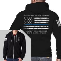 Full-Zip Hoodie with Thin Blue Line