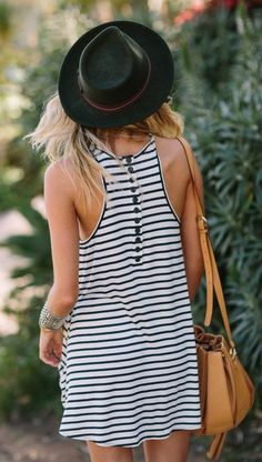 Button Accent Striped Inspiration Dress by Alden Steimle
