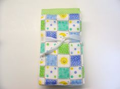 Green and Blue Diaper Burp Cloths for Baby by threadsandthings1, $8.00
